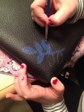 Painting on the first leaf - please forgive the chipped finger nails!