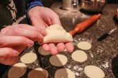 Best practice: pinch dough to dough. The dough will not stick together if it comes into contact with filling.