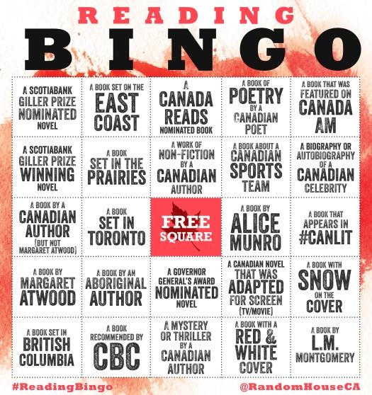 Random House Canada's Reading Bingo card