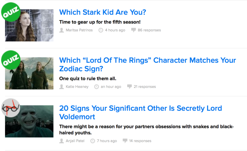 A few of the fun posts on BuzzFeed Books.