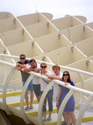 Chad, Brayden, Kaeri, Jerras, and I at the Metropol Parasol in Seville, Spain.
