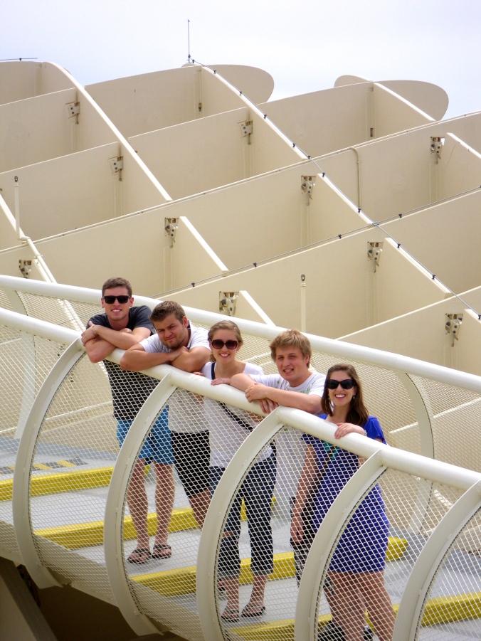 Chad, Brayden, Kaeri, Jerras, and I at the Metropol Parasol in Seville, Spain.