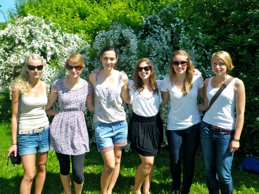 Kaeri and I visiting our German Exchange Students, Sümi and Kathy, and some other friends, in Munich.