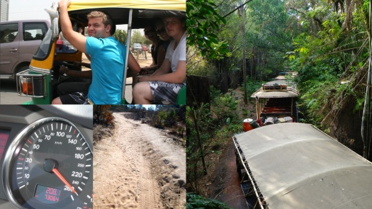 From top to bottom, left to right: The Rempels and a Sklepowich in a tuktuk in New Delhi (photo by Margaret Stefels), going 260km on the Autobahn in Germany (yes, that is super fast), a typical dirt road in rural Zambia, and a safari truck convoy at Disney's Animal Kingdom in Florida (not in Africa! But I have been on game drives in India, South Africa, and Botswana)