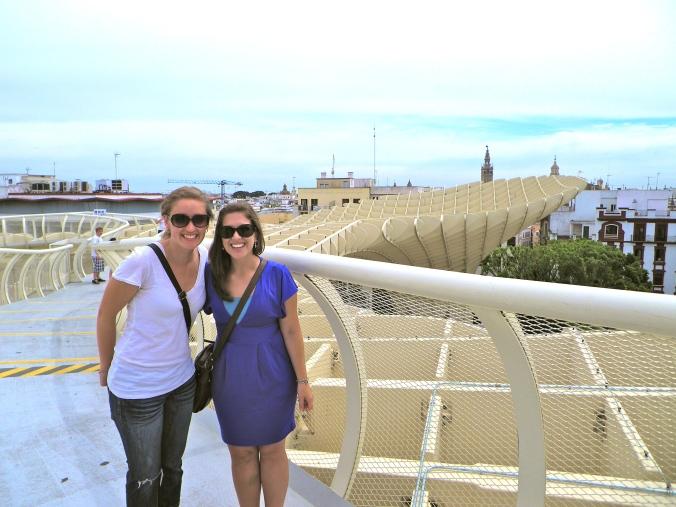 Kaeri and Katrina visiting the Metropol Parasol in 2012.